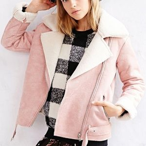 Glamorous Faux Sherpa and Suede Moto Jacket